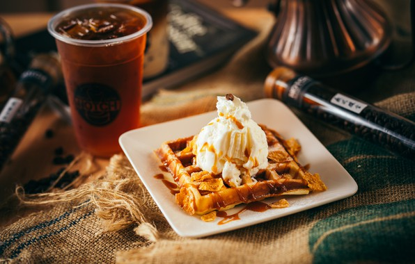 Picture coffee, ice cream, waffles