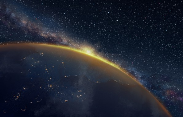 Picture space, lights, earth, planet