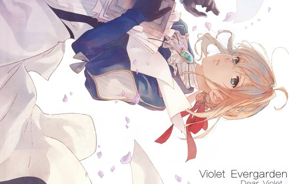 Picture book, brooch, iron hand, red ribbon, Violet Evergarden, by Akiko Takase