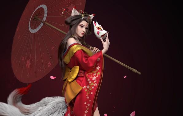 Picture the dark background, umbrella, mask, geisha, tail, kimono, bow, ears, art, cherry blossoms, Wing, kitsune, …