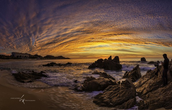 Picture sea, the sky, sunset, stones, shore, Mexico