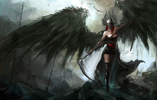 Picture dark, demon, fantasy, stockings, wings, birds, angel, artwork, mask, fantasy art, dark fantasy, pearls, sickle, …