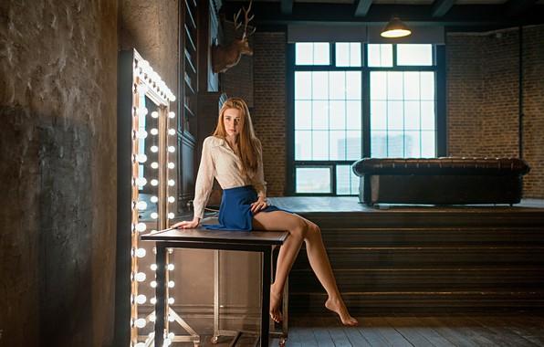 Picture look, girl, pose, table, skirt, window, legs, Dmitry Lebedev, Lebedev