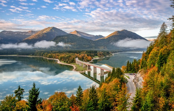 Picture road, autumn, forest, mountains, bridge, lake, Germany, Bayern, Germany, Bavaria, Bavarian Alps, The Bavarian Alps, ...