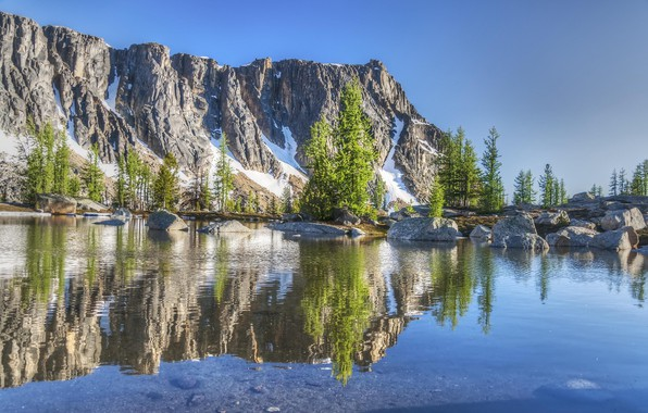Picture the sky, landscape, nature, rock, lake, reflection, mountain, beauty, nature