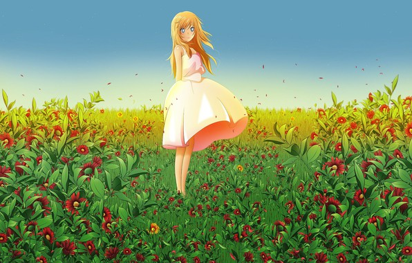Picture summer, bouquet, girl, blue eyes, one, long hair, flower field, sundress, miyazono kaori, your April …
