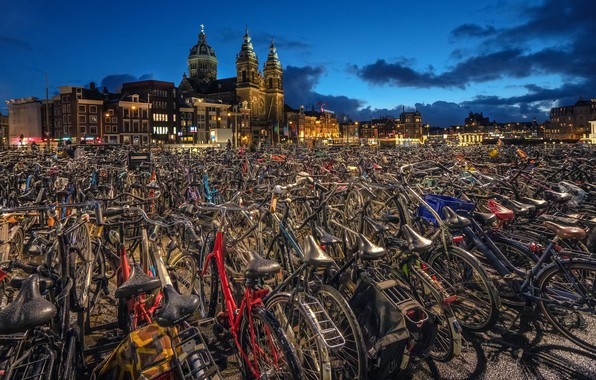 Picture Amsterdam, bikes, Netherlands, North Holland