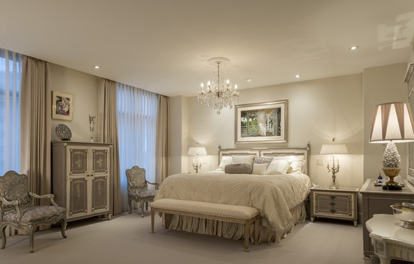 Picture design, furniture, bed, interior, picture, chairs, chandelier, bedroom
