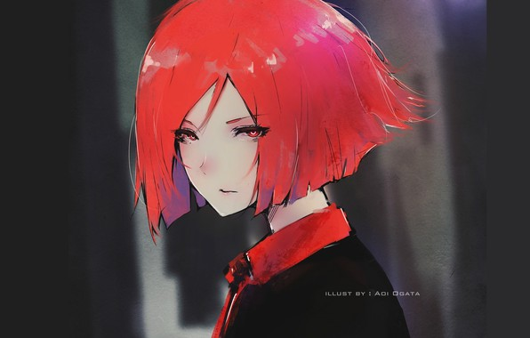 Picture look, face, haircut, girl, the dark background, red hair, portrait of a girl, Aoi Ogata