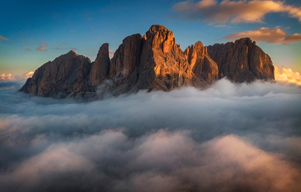 Picture the sky, clouds, mountains, sky, mountains, clouds, Dolomites, The Dolomites
