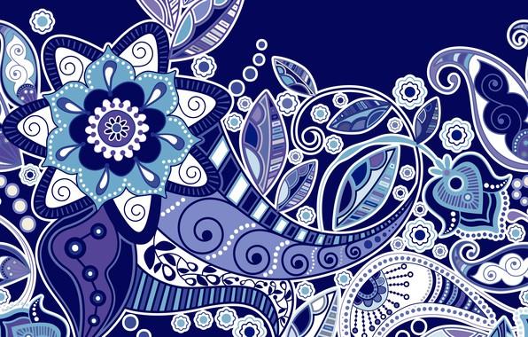 Picture flowers, texture, ornament, blue background