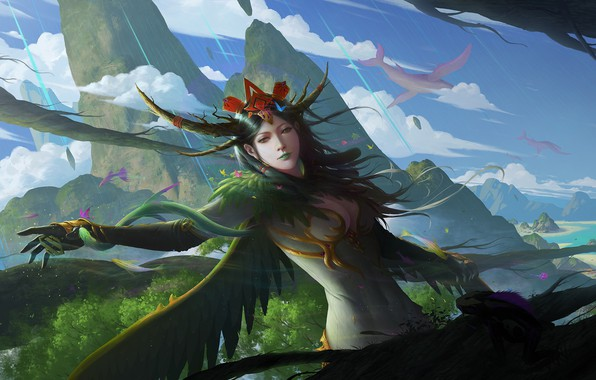 Picture look, girl, rocks, hand, wings, feathers, fantasy, art, gesture