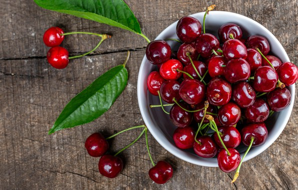 Picture leaves, cherry, berries, Board, Shine, food, Cup, red, bowl, placer, a lot, cherry, juicy, ripe, …