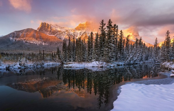 Picture mountains, nature, lake, morning