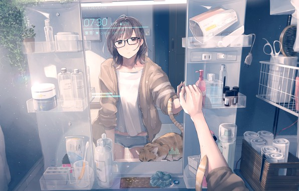 Picture watch, jars, cosmetics, scissors, glasses, the mirror, shelves, Hairdryer, portrait of a girl, ginger kitten, …