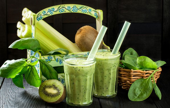 Picture leaves, kiwi, cocktail, tube, smoothies