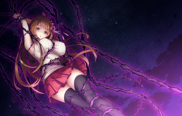 Picture look, girl, night, games, anime, art, vine, Deep One