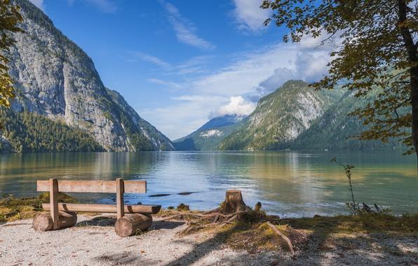 Picture clouds, landscape, mountains, nature, lake, shore, Germany, bench, national Park, Berchtesgaden, Königssee, Watzmann