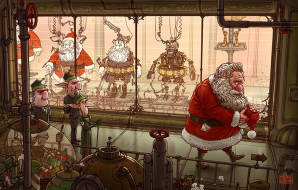 Picture Robots, Elves, Fantasy, Elf, Santa Claus, Art, Robots, Fiction, Machine, New Year, Santa Claus, Plant, …