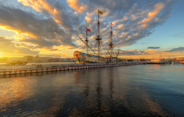 Picture clouds, sunset, river, photo, ships, pier, Russia, Ed Gordeev, Eduard Gordeev, Saint Petersburg