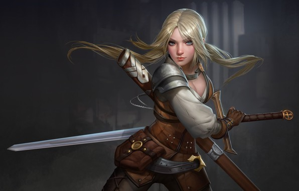 Picture look, weapons, hair, Girl, sword