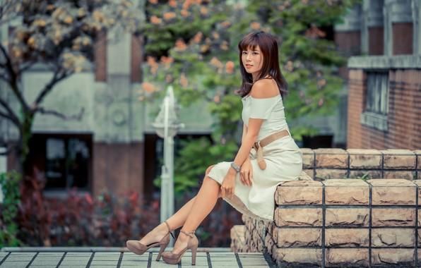 Picture girl, pose, sweetheart, dress, Asian, bokeh