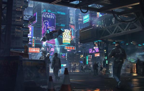 Picture Night, The city, Future, Neon, People, Advertising, Art, Art, Neon, Cyberpunk, Cyberpunk, by Alexander Dudar, ...