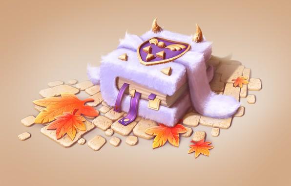 Picture autumn, fantasy, art, book, leaves, pussy, horns, children's, Daria Nigretskaya, Undertale Fan Art 02