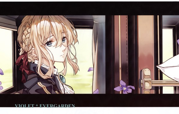 Picture face, the door, the car, gloves, window, violet, brooch, Violet Evergarden, by Akiko Takase