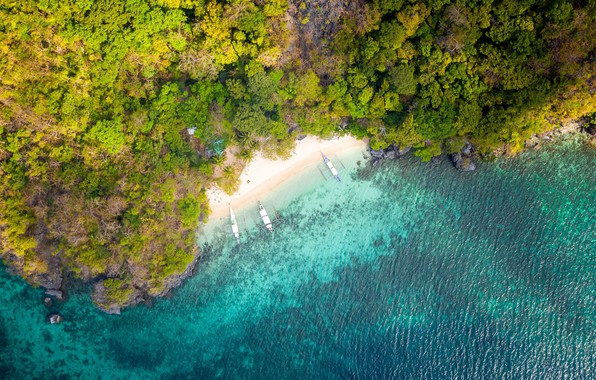 Picture beach, boats, tropical, aerial view, shoreline
