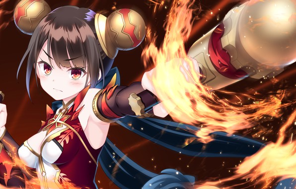 Picture girl, weapons, flame, games, anime, art, stick, The World's End Fallen Star