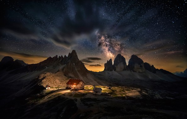 Picture the sky, stars, clouds, light, landscape, mountains, night, lights, house, darkness, rocks, tops, view, height, …