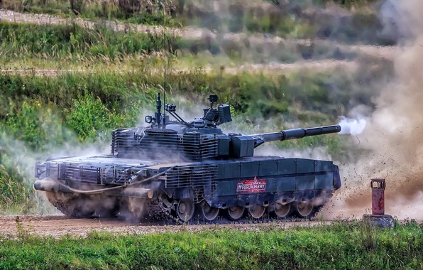 Picture shot, armor, upgraded, demonstration, T-80БВМ, firepower, Russian tank