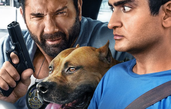 Picture dog, staff, in the car, Dave Bautista, Dave Batista, Kumail Nanjiani, Kumail, Nanjiani, American Staffordshire …