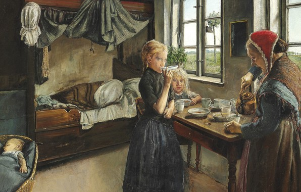 Picture Danish painter, 1882, Laurits Andersen Ring, Lauritz Andersen Ring, Danish painter, Morning coffee, The interior …