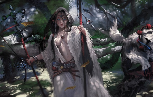 Picture necklace, mask, belt, staff, blue eyes, priestess, Diadema, fairy forest, shaman, amulets, by Taejune Kim