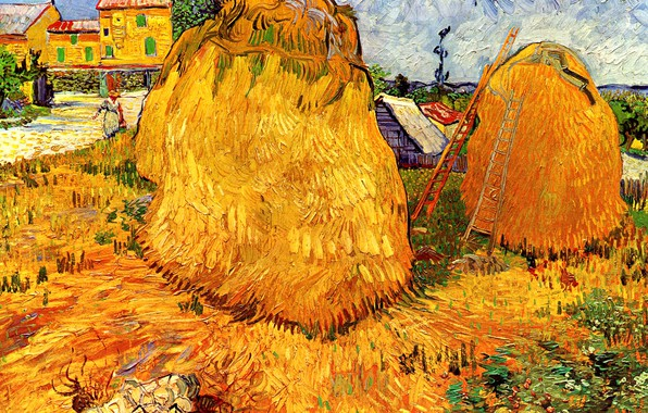 Picture hay, stairs, Vincent van Gogh, in Provence, Haystacks