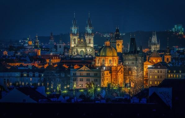 Picture building, home, Prague, Czech Republic, tower, night city, Prague, Czech Republic