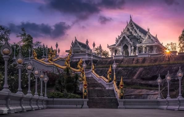 Picture sunset, lights, ladder, temple, Thailand, Thailand, Krabi, Krabi, Wat Kaew Ko Wararam