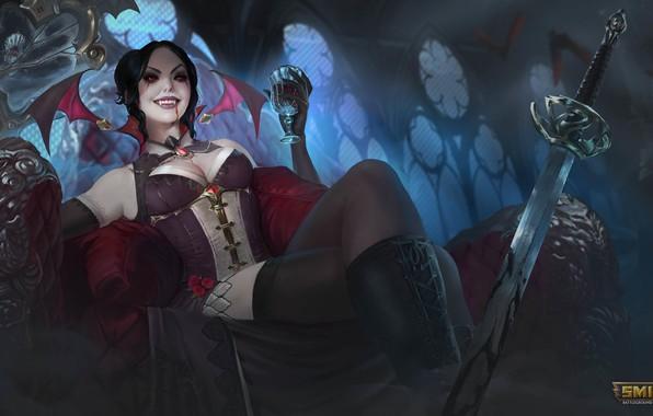 Picture girl, night, glass, Windows, sword, brunette, sitting, vampire, Smite, Amaterasu
