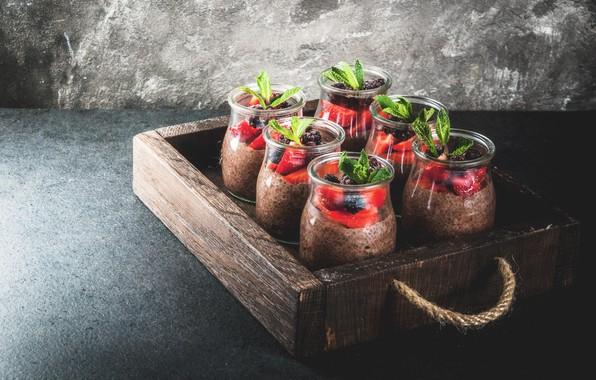 Picture berries, box, Breakfast, jars, pudding, Chia