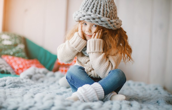 Picture hat, jeans, scarf, girl, happy, cute, little girl