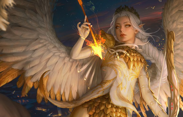Picture elf, gold plated, Diadema, in the sky, angel, tail, white wings, pointy, girl-angel, long white …