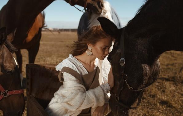 Picture girl, mood, horses, horse, Olga Aleshina