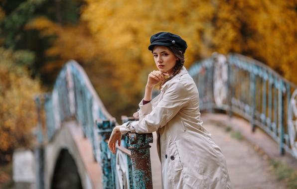 Picture autumn, look, girl, bridge, cloak, Disha Shemetova