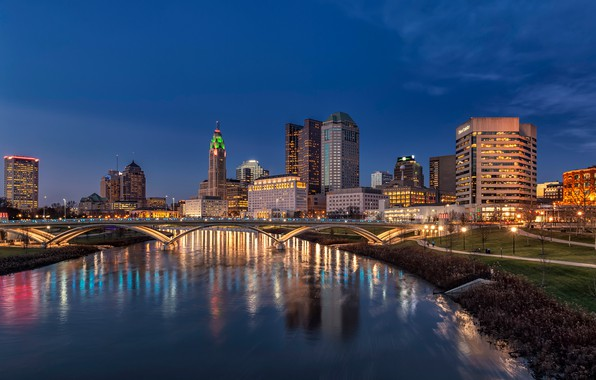 Picture the sky, bridge, lights, river, building, home, the evening, lights, USA, Ohio, Columbus