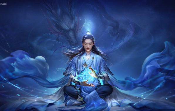 Picture girl, fantasy, dragon, digital art, artwork, fantasy art, creature, magician, monks, spell, 3Q Studio