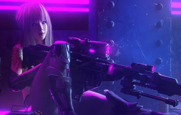 Picture Girl, fantasy, soldier, long hair, weapon, neon, tattoo, sniper, digital art, rifle, artwork, sniper rifle, …