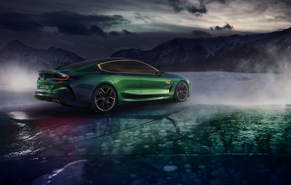 Picture mountains, clouds, coupe, ice, BMW, back, side, 2018, M8 Gran Coupe Concept