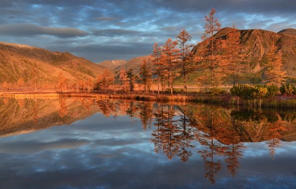 Picture autumn, clouds, trees, landscape, mountains, nature, lake, reflection, Kolyma, Maxim Evdokimov